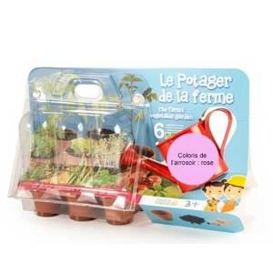"""Coffret jardinage enfant """"Le potager de la ferme"""" rose 277077"""