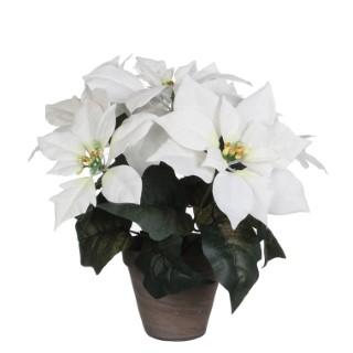 Poinsettia blanc plante artificielle en pot Stan gris H 30 x Ø 33 cm 277337