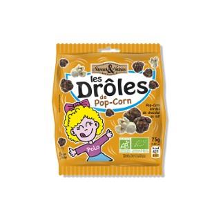 Drôles de pop-corn enrobés de chocolat au lait grand sachet 75 g 278442