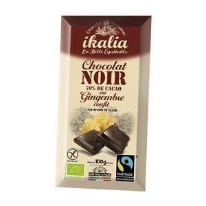 Tablette de chocolat noir 70% au gingembre 100 g 278444