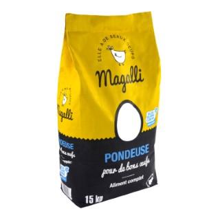 Aliment complet pour poule pondeuse en sac jaune de 15 kg 279781