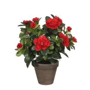 Azalée rouge plante artificielle en pot Stan gris H 27 x Ø 20 cm 280480