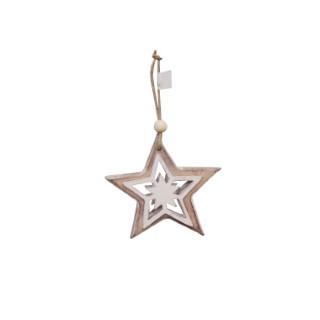 Étoile en bois à suspendre10 cm 284299