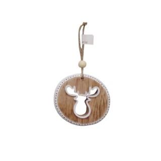 Disque décor tete caribou en bois à suspendre 284311