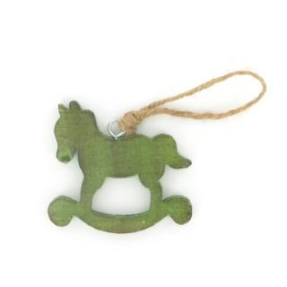Cheval à bascule vert en bois 284349
