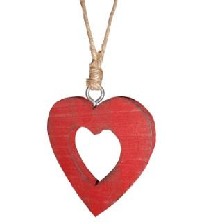 Cœur rouge en bois 284380