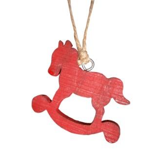 Cheval à bascule rouge en bois 284394