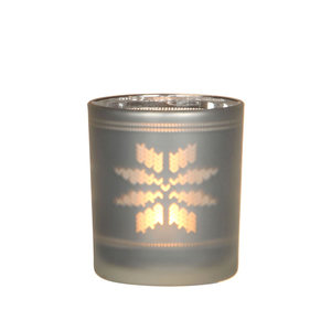Porte bougie en verre motif flocon blanc H8cm D7cm 285462