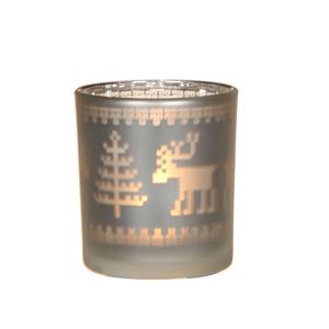 Porte bougie en verre motif renne blanc H8cm D7cm 285464