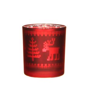 Porte bougie en verre motif renne rouge H8cm D7cm 285465