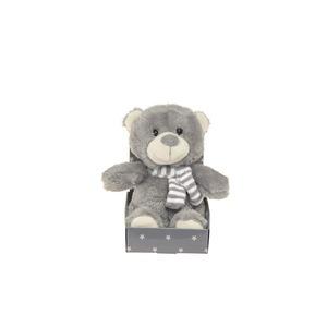 Ourson gris, écharpe rayée blanc / gris 16 cm 285651