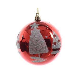 Boule de Noël plastique rouge décor arbre D 8cm 286317