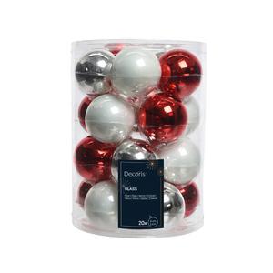 Boules en verre mix Rouge Blanc Argent Ø 6 cm en boite de 20 286370