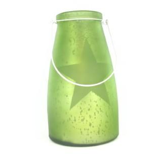 Verre bocal vert avec étoile lumineuse 10 LED de 13x15 cm 286820