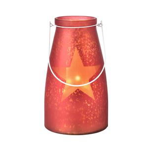 Verre bocal rouge avec étoile lumineuse 20 LED de 15x26 cm 286822
