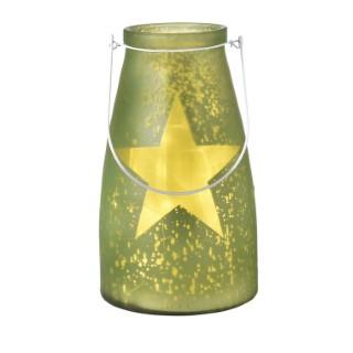 Verre bocal vert avec étoile lumineuse 20 LED de 15x26 cm 286823