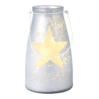 Verre bocal blanc avec étoile lumineuse 20 LED de 15x26 cm 286824