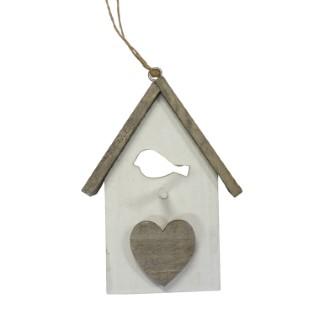 Suspension maison ouverture oiseau bois blanc 12,5 cm 286865