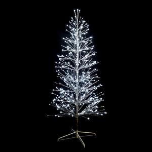 Sapin spray branches métal argent H 150cm LED blanc & LED flash 286961