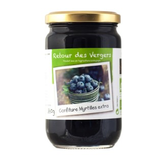 Confiture de myrtilles bio en pot de 360 g 288343