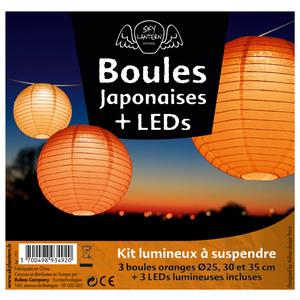 Lot de 3 boules japonaises en papier orange 291016