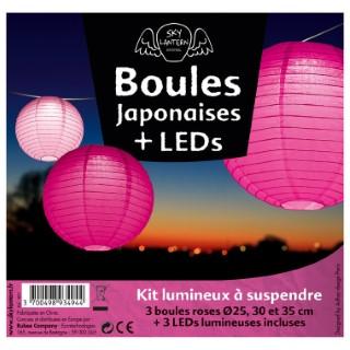 Lot de 3 boules japonaises en papier rose 291017