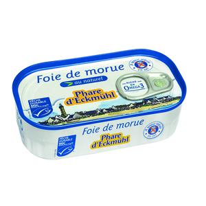 Foie de morue nature sans sel ajouté bio en boite de 121 g 291991