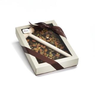 Plaque à casser au chocolat noir, amandes et caramel bio avec maillet Chocolaterie Castelain - 400 g 298821