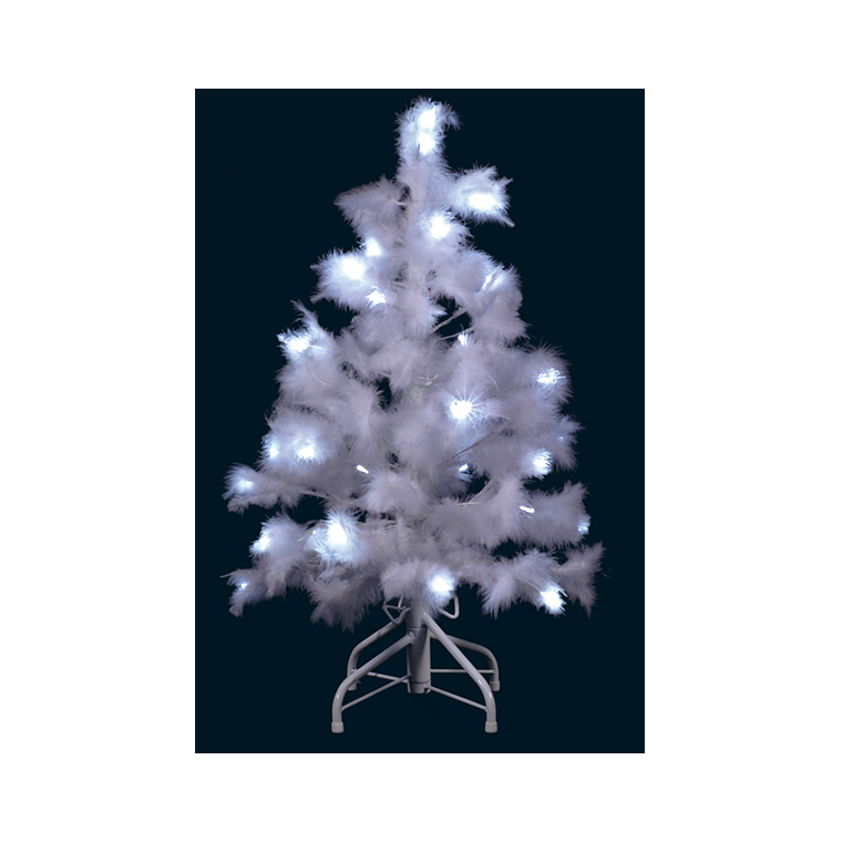 Sapin plumes blanches lumineux 80 cm 201970