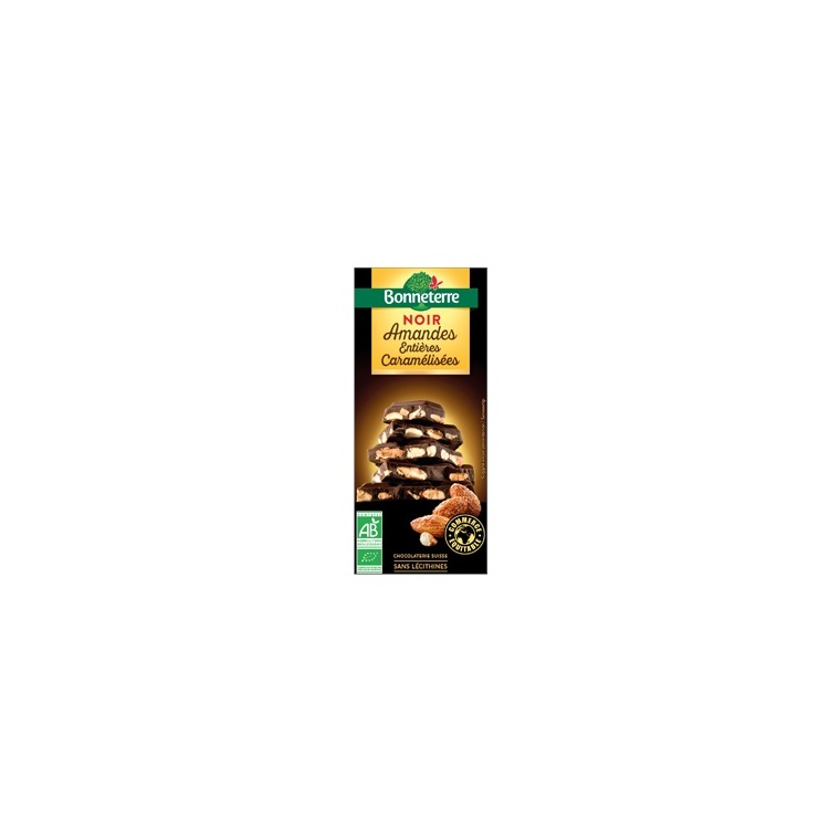 Chocolat noir amandes caramélisées 200 g BONNETERRE 202048