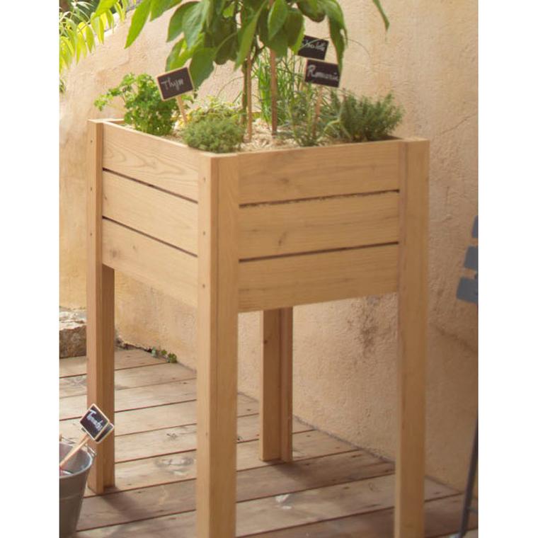 Potager surélevé en bois de chataignier L 50 x l 50 x H 80 cm 204846