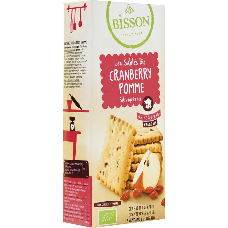 Sablés bio Cranberry Pomme - BISSON 125 g
