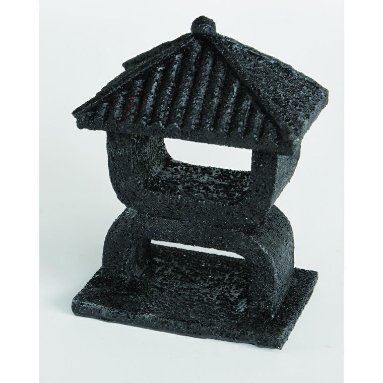 Zen Déco Mini Temple Noir XS  Résine 8x6x10,5 cm 209417