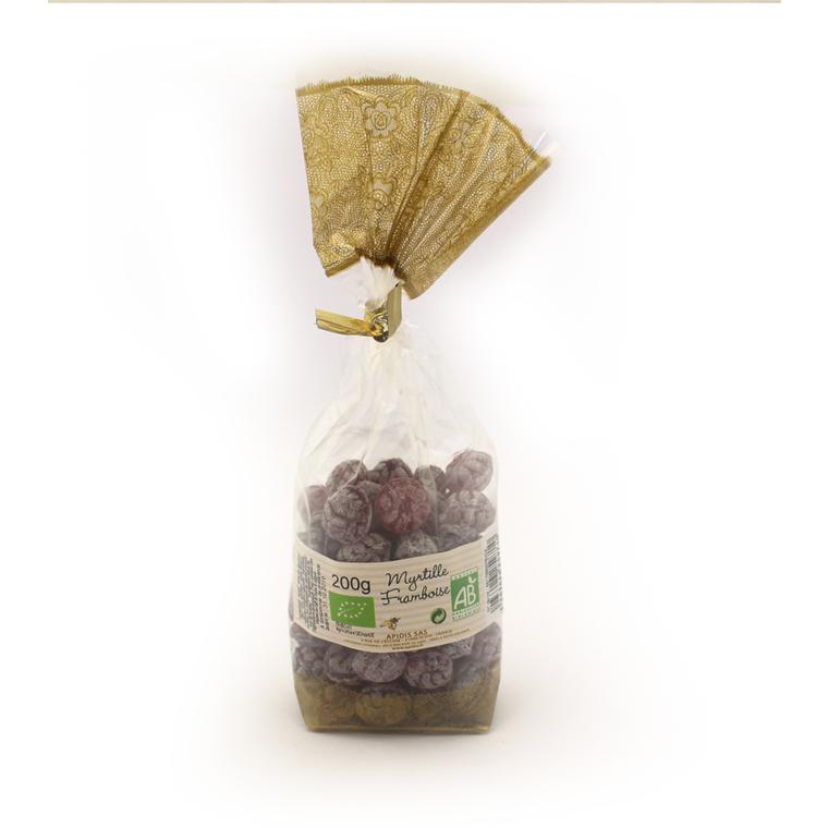 Bonbons bio au miel, myrtille et framboise en sachet de 200 g