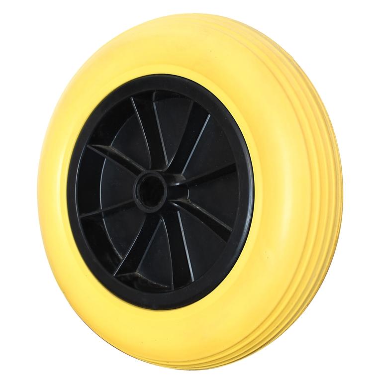Roue souple increvable jaune Ø 36cm avec jante polypropylène 210966