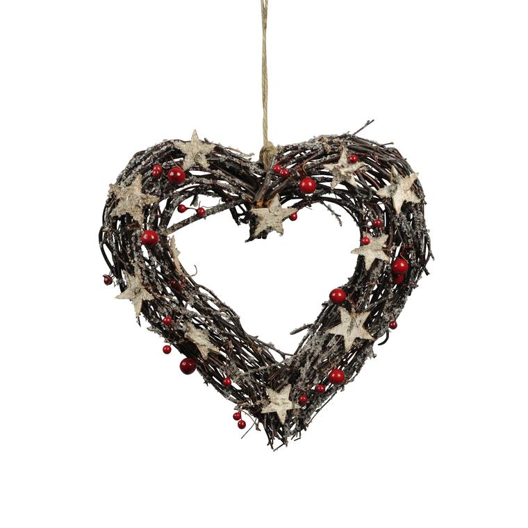 Couronne naturelle décorée en forme de cœur à suspendre 30 cm