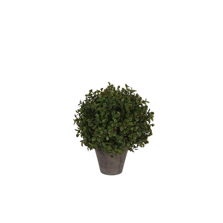 Boule de Buis vert plante artificielle en pot Stan gris H 30 x Ø 21 cm 213415