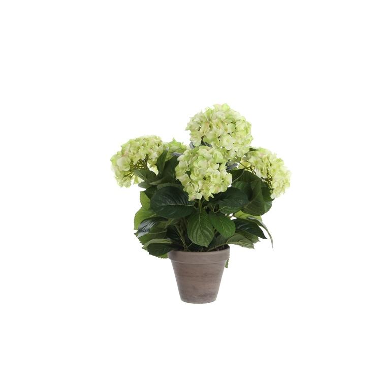 Hortensia beige fleur artificielle en pot Stan gris H 45 x Ø 45 cm cm 213417