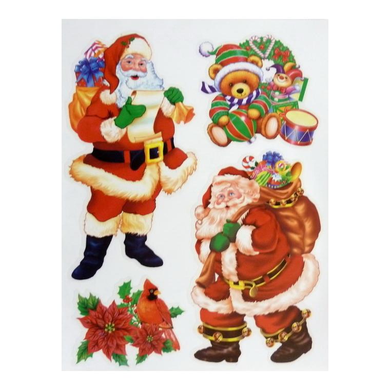 Décor fenêtre Noël multicolore 38 x 30 cm - 4 modèles 213599