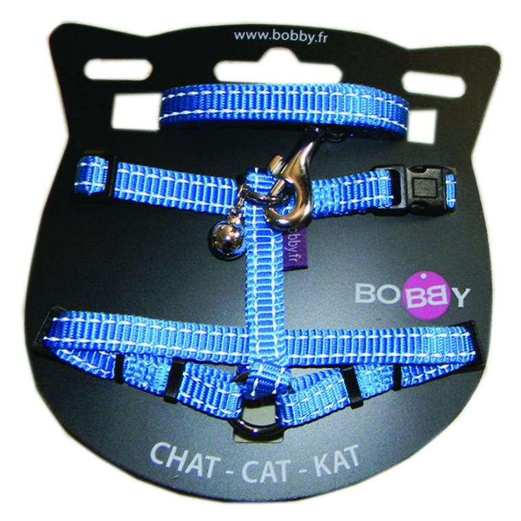 Kit harnais + laisse pour chat Safe bleu 214296