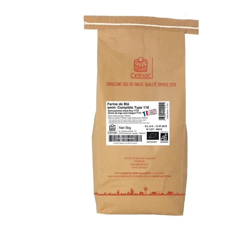 Farine de blé semi- complète T110 bio en sac de 5 kg 215289