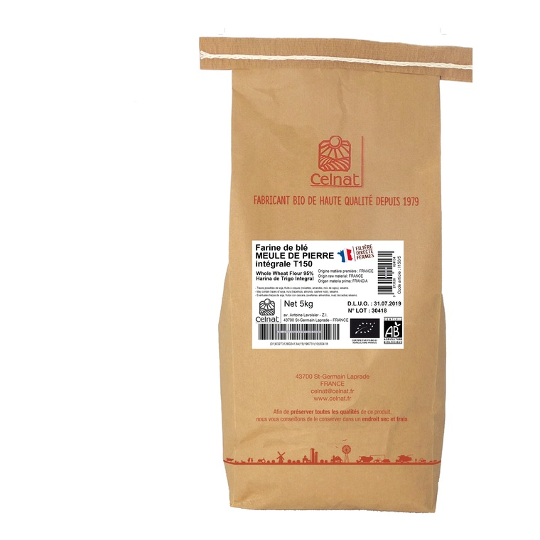 Farine de blé intégrale T150 bio en sac de 5 kg 215290