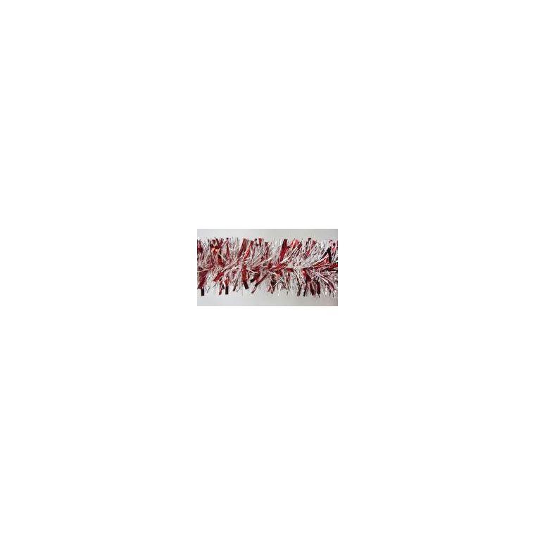 Guirlande chiffonnée rouge, blanche et argentée 216010