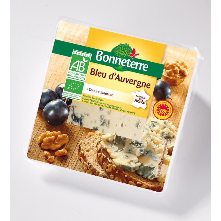 Bleu d'Auvergne AOP Bonneterre bio en portion de 125 g 218553