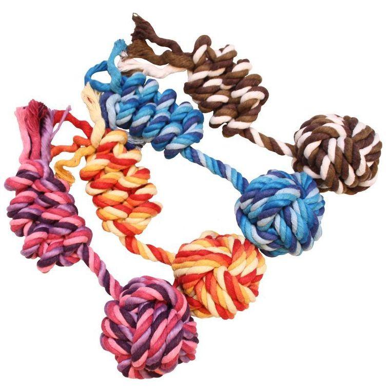 Balle et corde en coton pour chien - 25 cm 222274