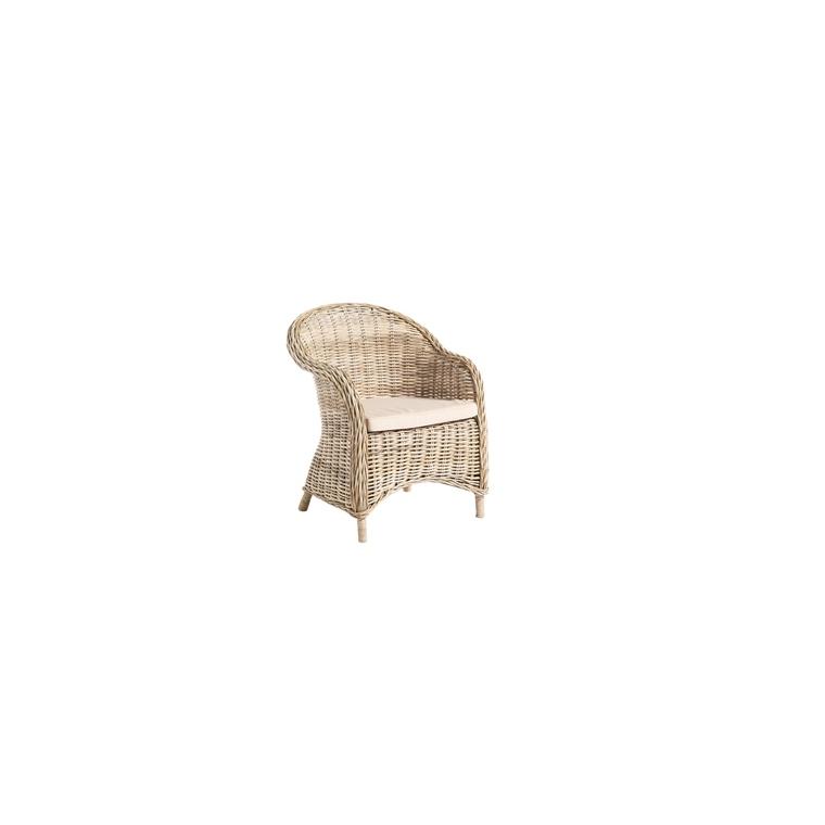 fauteuil chester en rotin et son coussin beige 70 x 66 x. Black Bedroom Furniture Sets. Home Design Ideas