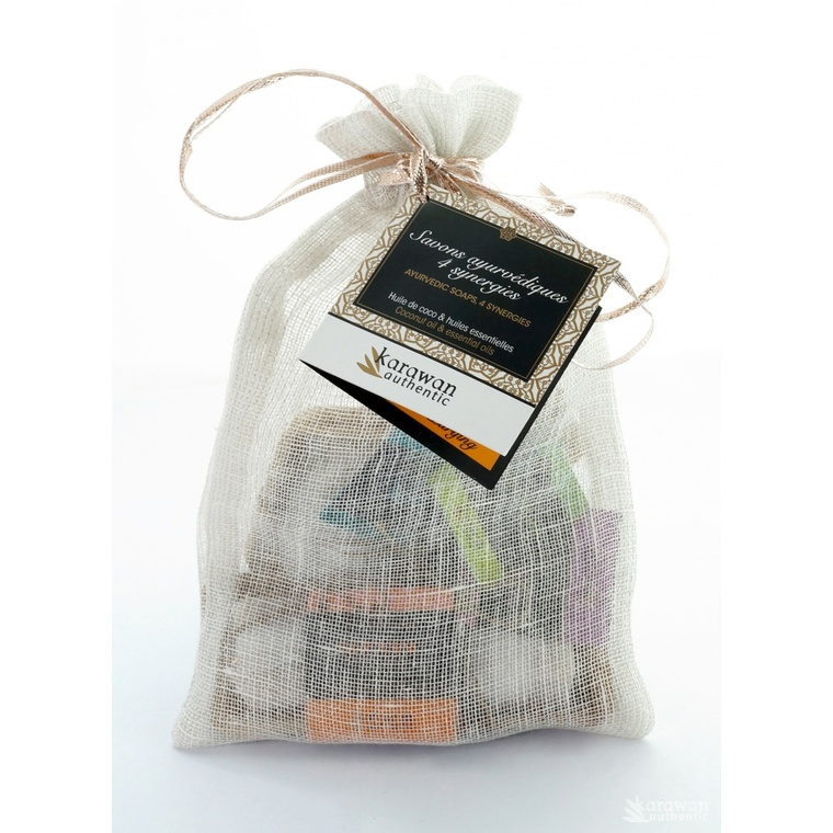 Pochon en lin avec 4 savons ayurvédique 4 x 20 g KARAWAN 223538