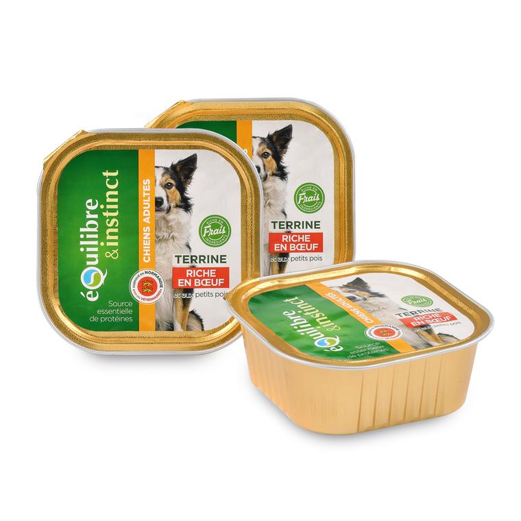 Pâtée pour chien bœuf pois en barquette de 300 g 224855
