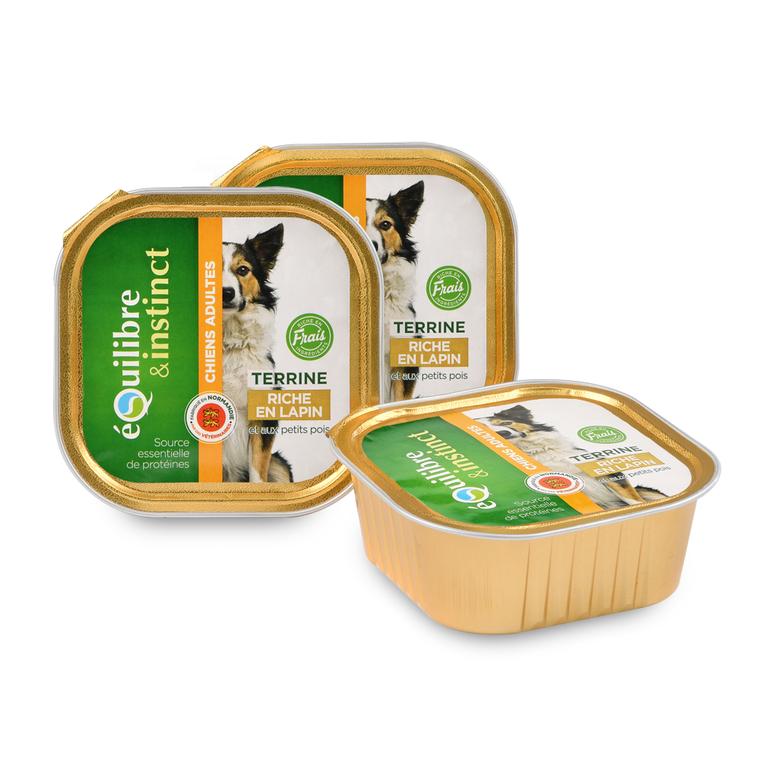 Pâtée pour chien lapin pois en barquette de 300 g 224857