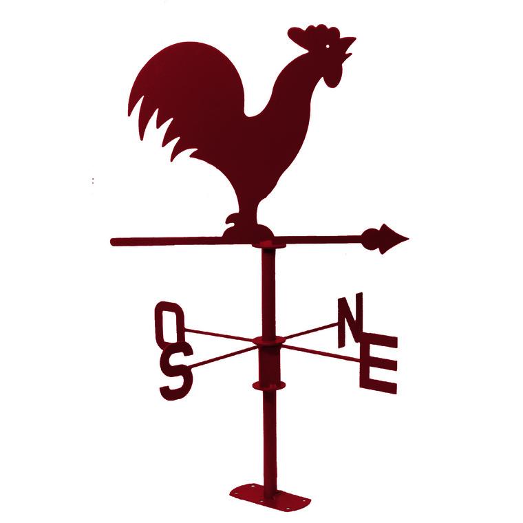 Girouette coq rouge foncé en métal 226999